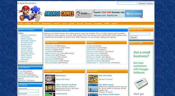 Product picture ARCADE WEBSITE SCRIPT With 2,010 GAMES + ADSENSE