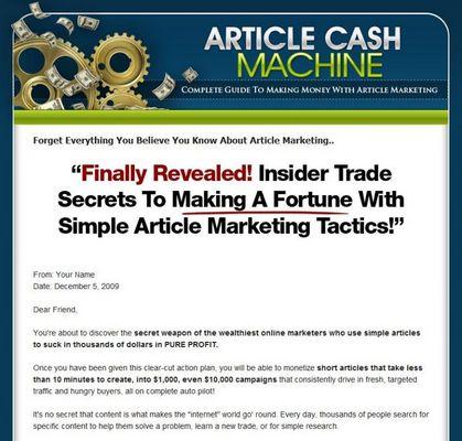 Product picture Article Cash Machine Ebook Website